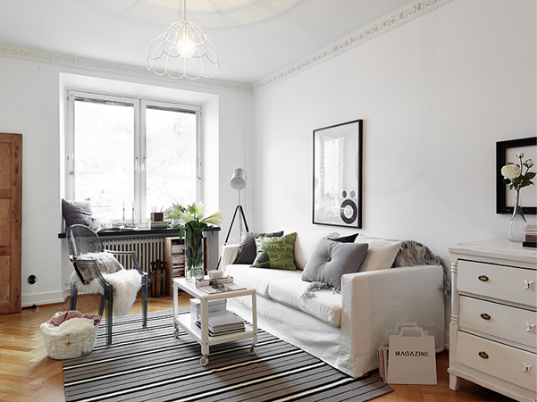 Lovely girly apartment - Decoracion salon gris y blanco ...