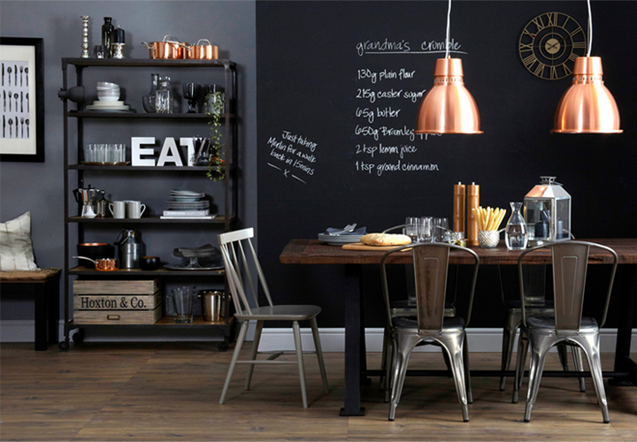Dark dining area with industrial touch 79 ideas for Beautiful dining area