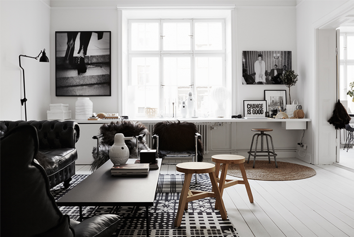 Cozy apartment in black and white 79 ideas - Decoracion nordica salon ...