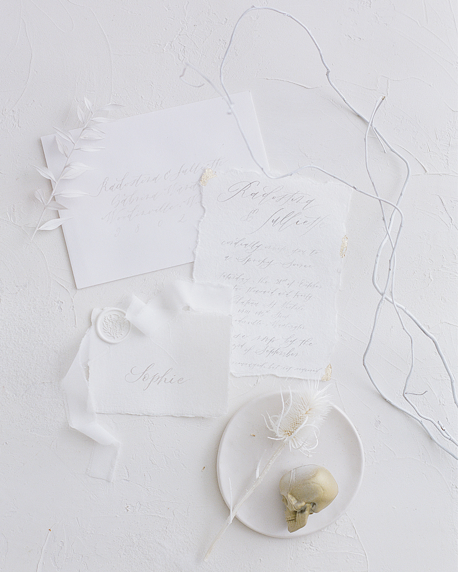 White Minimal Halloween Table Decor